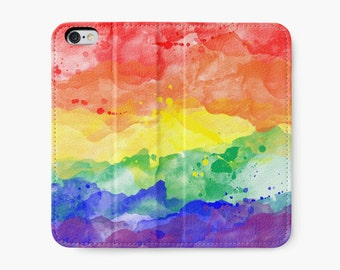 Rainbow Watercolor Cell Phone Wallet- rainbow watercolours wallet for iPhone 6, iPhone 6 Plus, iPhone 6S, iPhone 6S Plus