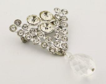Vintage clear rhinestone brooch, chevron brooch, great gatsby, bridal accessories, crystal brooch