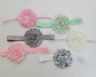 Shabby chic baby headband set of 6 headbands, newborn headband, infant headbands, baby hair bow, baby shower gift, vintage baby headband set