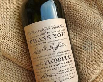 Personalized Wine Bottle Labels \\ Gift \\ Favor \\ Centerpiece