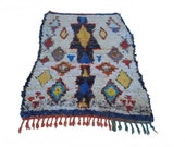 """87""""X55"""" vintage Moroccan rug woven by hand from scraps of fabric / boucherouite / boucherouette"""