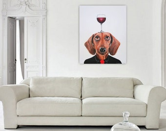 Daschund Painting, Dog Art, Dog with wineglass, Original Painting on canvas by Coco de Paris