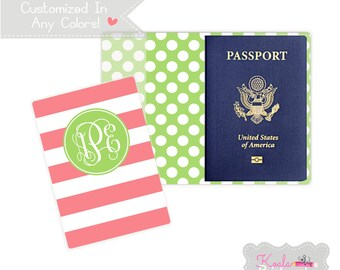 Personalized Passport Holder - Heavy Vinyl with Cardstock Insert - You Choose Colors & Personalization Style - US Passport - Rugby Stripe