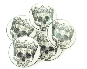 """Skull and Crown Sewing Buttons.  Human Skull Handmade Buttons. 3/4"""" or 20 mm."""
