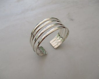 925 Sterling Silver Four Band Cuff Bracelet
