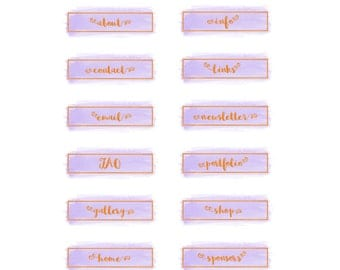 Purple Watercolor Blog Button Set, Gold Foil Buttons, Navigation Icons, Social Media Icons, Blog Sidebar Banners, Blog and Website Buttons