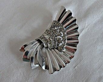 Pennino Sterling Art Deco, Rhinestone Pennino Brooch, Pennino Vintage Brooch