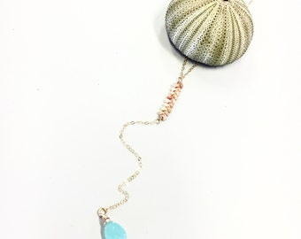 Kauai Ni'ihau shell lariat bar necklace featuring an aqua chalcedony tear drop in gold fill