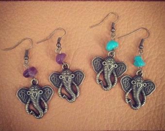 Savannah // Elephant Earrings // Amethyst // Bohemian // Hippie Earrings // Boho Earrings // Boho Chic // Gypsy // Turquoise Earrings