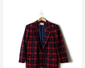 SUMMER SALE Vintage Pendleton Red x Navy Tartan Plaid/Checked  Wool Blazer Jacket from 1980's*