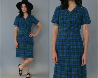 1960s handmade plaid cotton button down dress