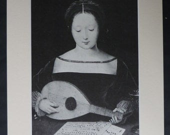Tudor Print of a Young Girl Playing the Lute, Musician Portrait History Decor Available Framed English Art Master of the Female Half-Lengths