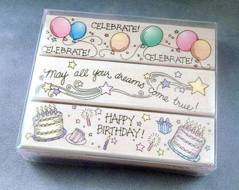 Rubber Stamp Set - Birthday - Celebrate - Cake - Stars - Balloons - Handmade Cards - Craft Supplies