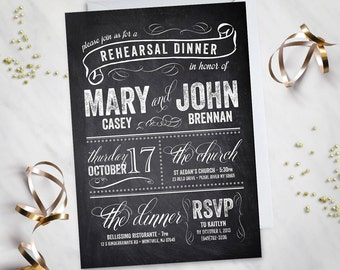 Chalkboard – Rehearsal Dinner Invitation (Digital file)