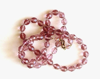 Vintage Glass Bead Necklace Amethyst