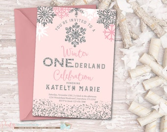 Winter Birthday Invitation, ONEderland Birthday Invitation, Snowflake Birthday Invitation, Winter Onederland Invitation, Pink and Silver