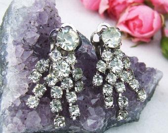 Vintage Diamante Drop Earrings Clip on Rhinestone Earrings
