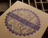 Do All of the Things Notebook Letterpress Printed Moleskine Journal To Do List in Navy Ink on Kraft Brown Cardstock with Gridded Interior