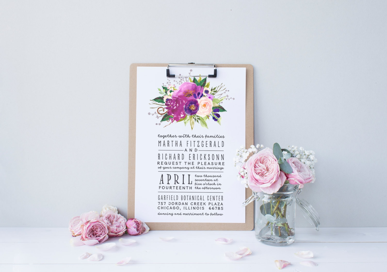 Boho Chic Wedding Invitations: Watercolor Boho Wedding Invitation Suite DEPOSIT DIY Chic
