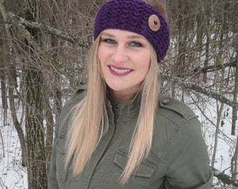Thick & Chunky Warm Knit Headband with Button - Purple
