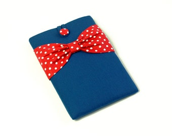 "iPad Case, iPad Air 2 Case, iPad Sleeve,Custom Cover for Any 7-10"" Reader or Tablet,Lightweight Padding-Blue,Red Polka Dots Bow"