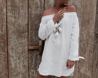 The Ari Dress - White Linen Off Shoulder Dress, Cocktail Dress, Linen Dress