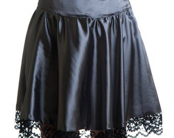 Victoria Skirt classy satin grey with black lace round goth romantic dark victorian. Limited Edition Handmade in Italy