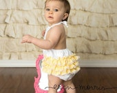 The Kinley Romper Yellow Gingham lined with lace and  White eyelet bodice Bubble Sun Suit Birthday Photo prop by JellyLou Creations