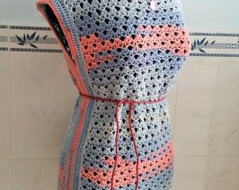 Crocheted Sunset tunic ( size L ) - free worldwide shipping