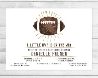 Football Baby Shower Invitation, Boy Digital Printable Invite Vintage, Watercolor, Gold