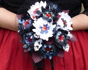 Paper daisy bouquet Las Vegas poker chip paper bridal posy