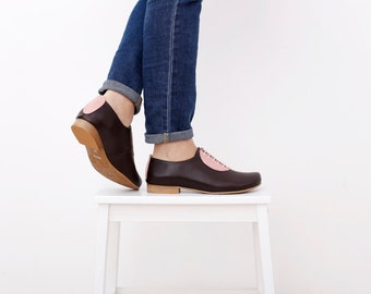 Women's flat shoes, handmade leather brown with pink geometric detail, limited edition, statement shoe ADIKILAV , ON SALE 20%