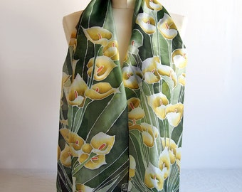 Long Silk Scarf Calia Flowers scarfs -  hand painted scarf - silk scarves - dark green scarf - gold white callia scarfs