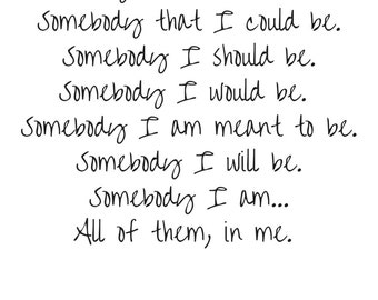 Printable Poetry - Somebody