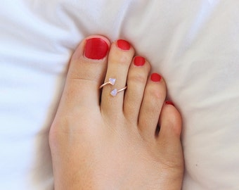 Raw Stone Toe Ring, Druzy Toe Rings,  Sterling Silver Toe Ring ,  Minimal, Rose Gold Ring, Gold Ring, Sterling Silver Ring