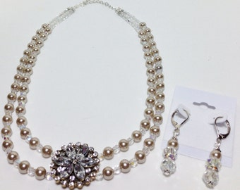 Bridal Wedding Jewelry, Platinum Pearls Necklace Rhinestone Flower Collar, Bride Platinum Pearls Collar Necklace Earrings Set
