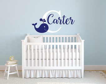 Whale Wall Decal - Whale Name Decal - Personalized Name Decal With Whale - Nursery Wall Decor Vinyl Wall Decal Whale Decal