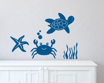 Sea Turtle Decal Crab Wall Decal Ocean Wall Decor - Bathroom Decor - Nursery Wall Decor Bubble Decals - Nursery Decals - Starfish Decal
