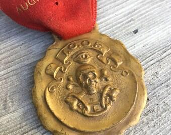 SALE! SKULL crossbones & All seeing Eye- Antique Pocket watch fob I.O.O.F. Order of Odd Fellows  secret society gold medal FLT e61 eb
