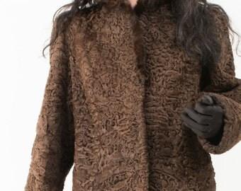 Beautiful Chocolate Brown Persian Lamb Fur Coat with MINK Trim Collar Size Med