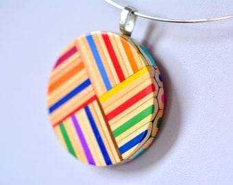 Colorful ring pendant  necklace from colored pencils