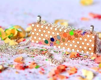 Colored pencils rectangle pendant long chain necklace