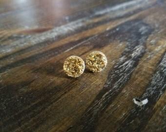 Metallic Gold Druzy Earrings - 12mm