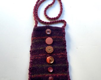 Purple and Magenta Hand Knit Felted Fun Phone Bag - Purple Passion
