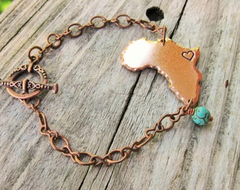 Copper Africa Bracelet With Heart Hand Stamped Over Uganda.