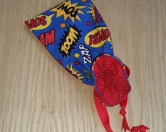 Super Hero Mini Drawstring Bags - bam - pow - zoom - super - goodie bag - party favor - boom - comic words - stocking stuffer - handmade