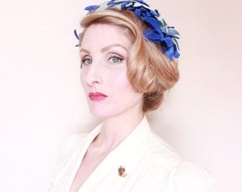 1950s Hat / VINTAGE / 50s Hat / Blue / Velvet / Flowers / Leaves / Pixie / Unique