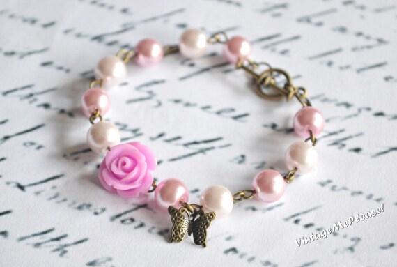 Flower Girl Gift, Childrens Bracelet, Pearl Bracelet, Bridesmaids Gifts, Bridesmaids Bracelet, Toddler Jewelry, Baby Girl Bracelet, Bracelet