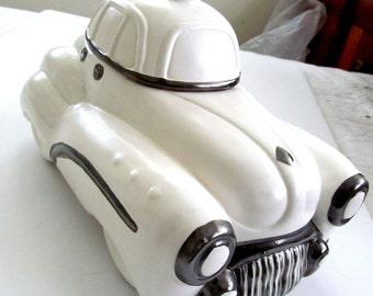 Striking  White and Metallic Chrome  Vintage Ceramic Auto CAR  TAXI  COOKIE  Jar