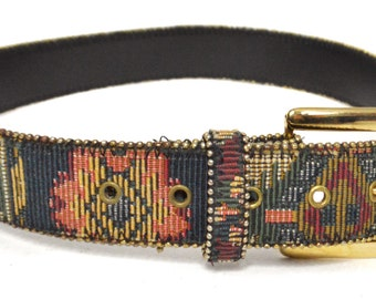Vintage 90s Tapestry-Style Stitched Ethnic Boho Hippie Bonded Leather Belt